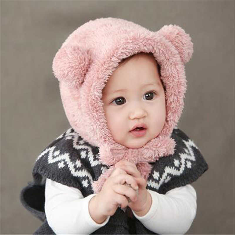Baby Girls Boys Winter Warm Hat Hot Sale Toddler Beanie Hats Lovely Bear Ear Plush Bebes Cap 2017 New Arrival Fashion Caps 6-36M