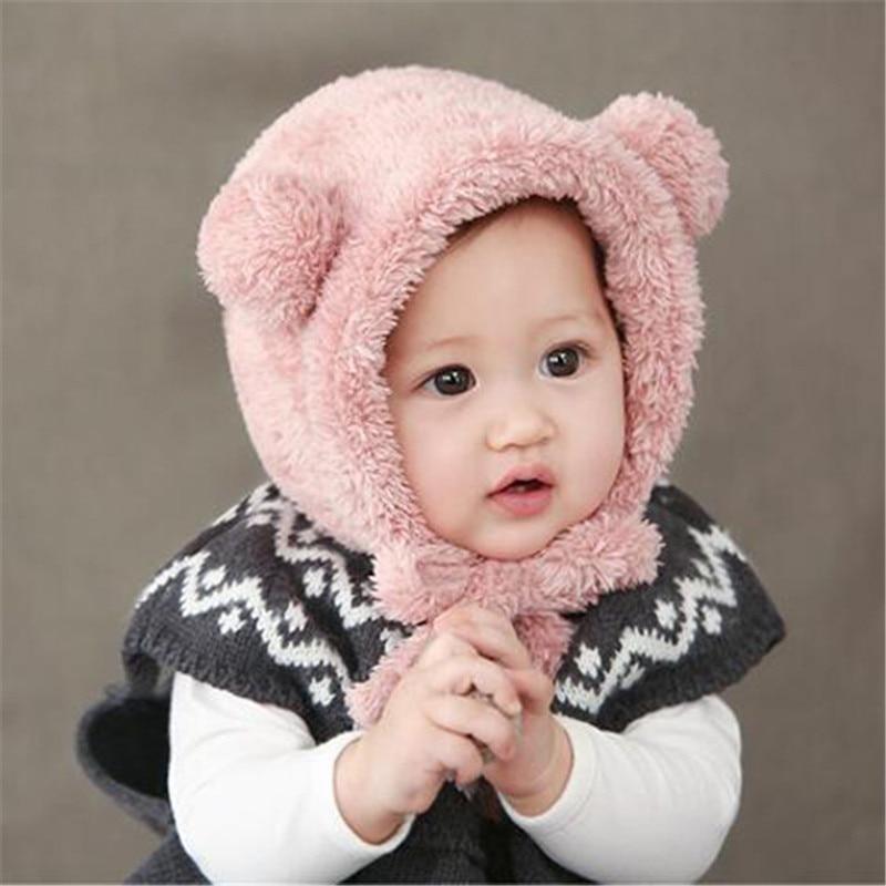82529aa0471 Baby Girls Boys Winter Warm Hat Hot Sale Toddler Beanie Hats Lovely Bear  Ear Plush Bebes