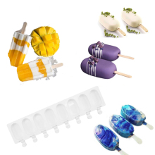 4 Cavities Silicone Freezer Ice Cream Mold candy bar Making Tool Juice Popsicle Molds Children Pop Lolly Tray Ice Cube maker zhenxing 4 cup ice pop making molds w sticks translucent white green