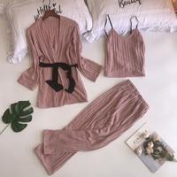 Velvet Pajamas for Women Elegant 3 Pieces Sleepwear Female Sexy Cotton Pajamas Set Pyjama Coat+Vest+Pants 2018 Pijama