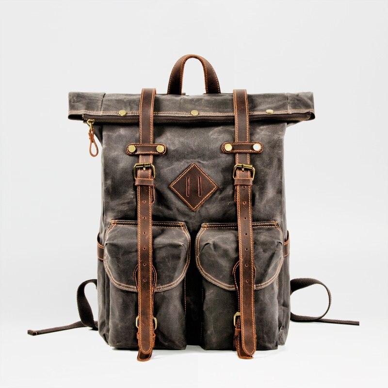 MUCHUAN Europe Canvas Leather Backpacks Mens 15 Laptop Daypacks Waterproof Canvas Rucksacks Large Waxed Travel Back