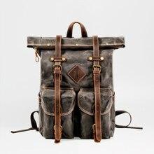 """MUCHUAN европейские холщовые кожаные рюкзаки мужские 1"""" рюкзаки для ноутбука водонепроницаемый рюкзак из парусины большой вощеный рюкзак для путешествий"""