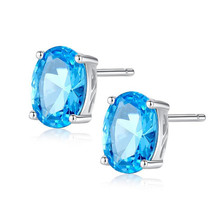 Natural Sky Blue Topaz Earrings Genuine 925 Sterling Silver Fine Jewelry 5x7mm 1.80ct Stud Earrings For Women Fashion brilliant light blue topaz earring 8 mm 8 mm natural vvs topaz stud earrings solid 925 sterling silver topaz earrings for party
