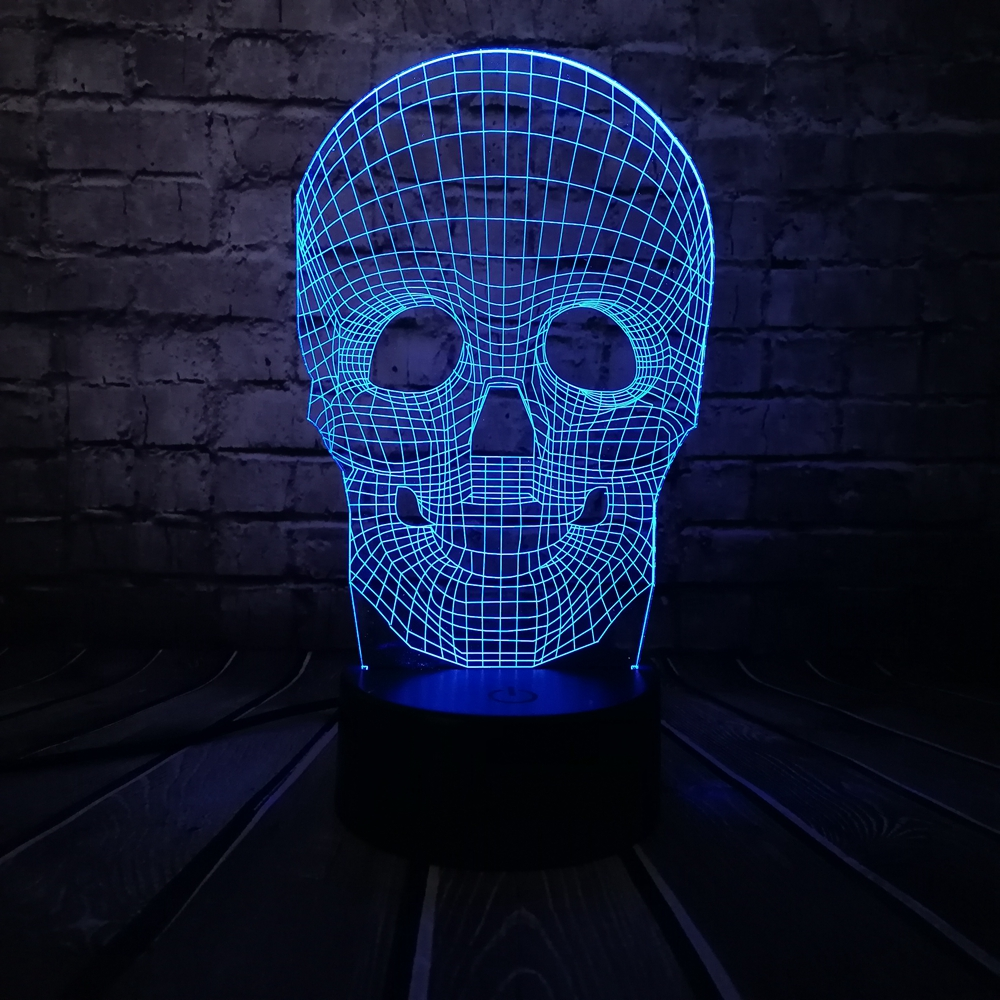 Grosir Halloween Tengkorak Warna-warni 3D USB LED Lampu Meja Meja Illusion Optik Cahaya Sentuh Remote Pencahayaan Liburan Decor