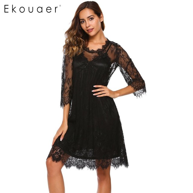 Ekouaer Sexy Nightgown Set Women 3 4 Sleeve Lace Nightdress + Babydoll  Chemise Sleep Dress 2 Piece Set Sleepwear Female Homewear 40dd6cbdc