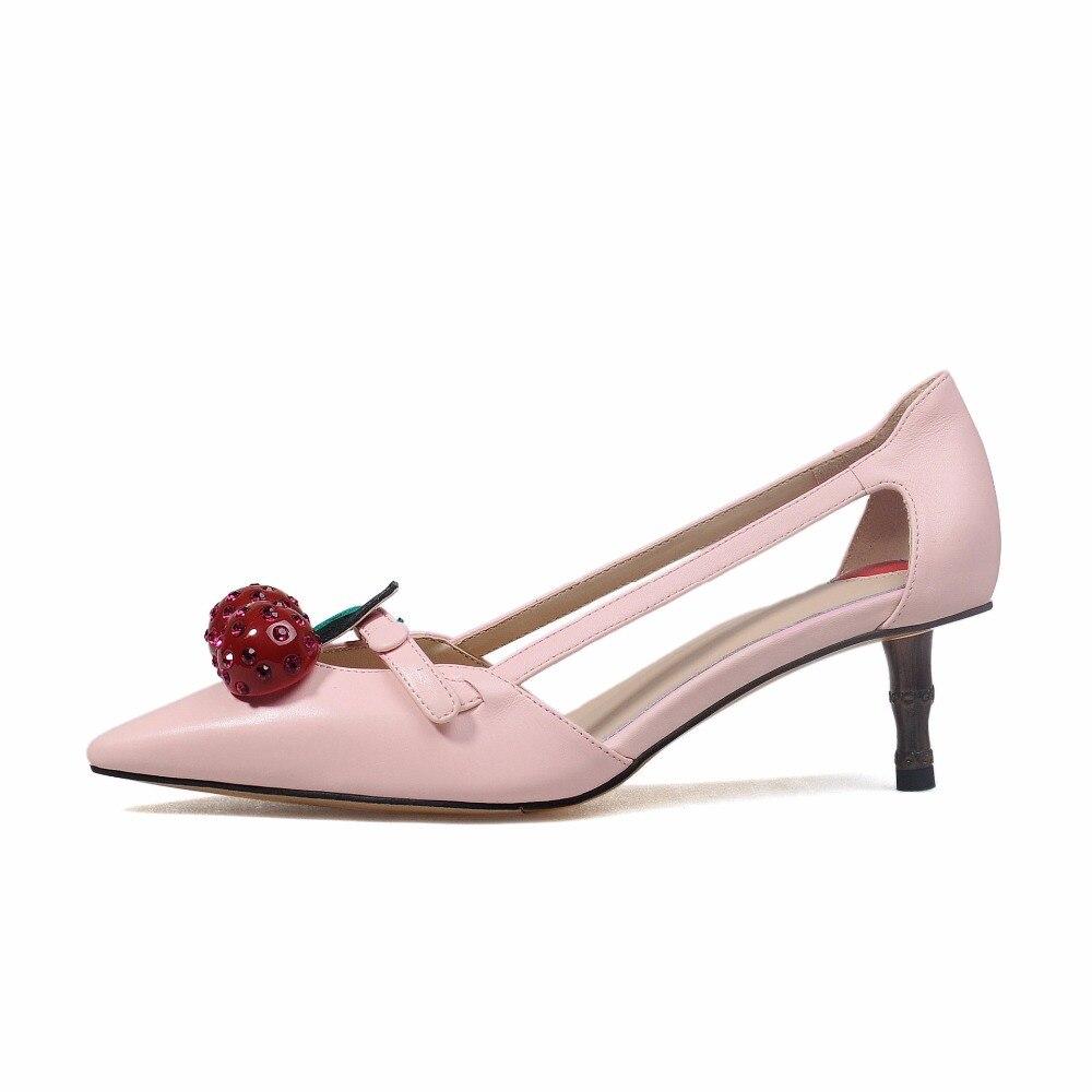 Boda As Mujer Zapatos Bombas Decoración Dedo Pic as De Feminino Sapato Cereza Pic Beertola Estilete Estilo Extraño FYcBSqF