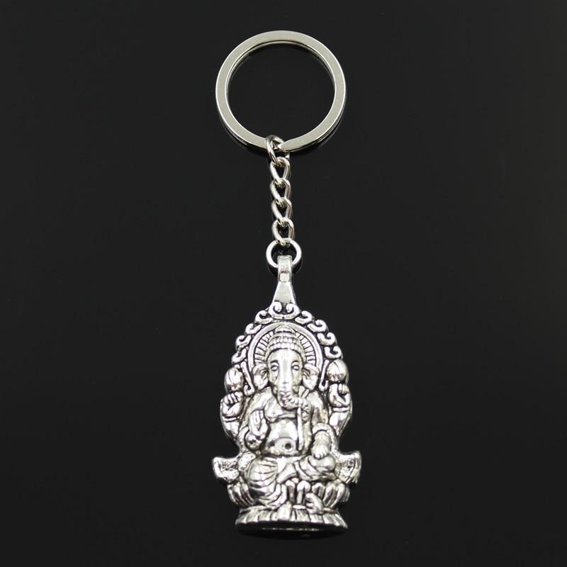 New Fashion Keychain 62x32mm Ganesha Buddha Elephant Pendants DIY Men Jewelry Car Key Chain Ring Holder Souvenir For Gift