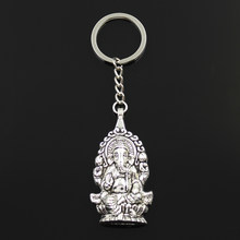 New Fashion Keychain 62x32mm Ganesha buddha elephant Pendants DIY Men Jewelry Car Key Chain Ring Holder Souvenir For Gift(China)