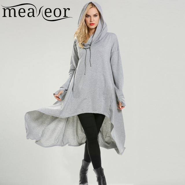 03fafcfbd1ec Meaneor Women Sweatshirt Dress Drawstring Hooded Cloak Cape Asymmetrical  Hem 2018 Fashion New Hoodie Cloak Cape Long Dresses
