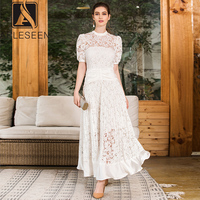 AELESEEN Elegant White Dresses 2019 Summer Fashion Puff Sleeve Luxuries Pleated Hollow out Patchwork Lace Long Dress Party Women