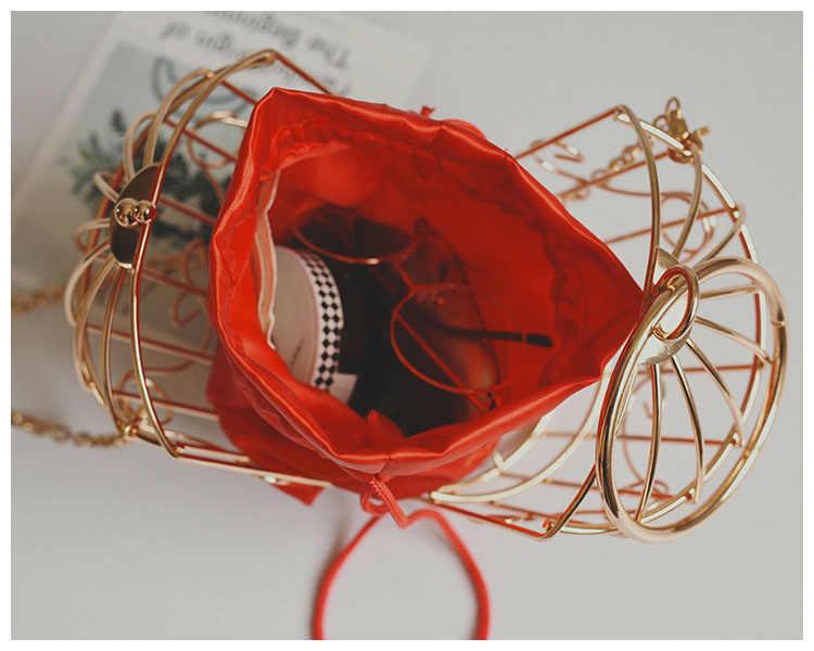 2019  Women Birdcage Evening Bag Clutch Metal Frame Embroidery Bucket Bird Cage Mini Bag Purse Woman Gold Tassel Handbag ladies