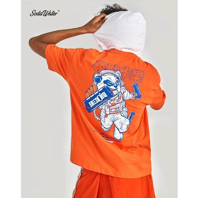 SODA WATER Men 2019 Summer Streetwear Animal Print T Shirt Hip Hop Oversize O-Neck Tshirt Men Short Sleeve Tee Shirts ZJ91910S