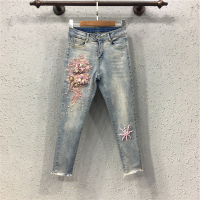 New European nail bead embroidery three dimensional foot flower show thin cowboy pants tight pencil pants