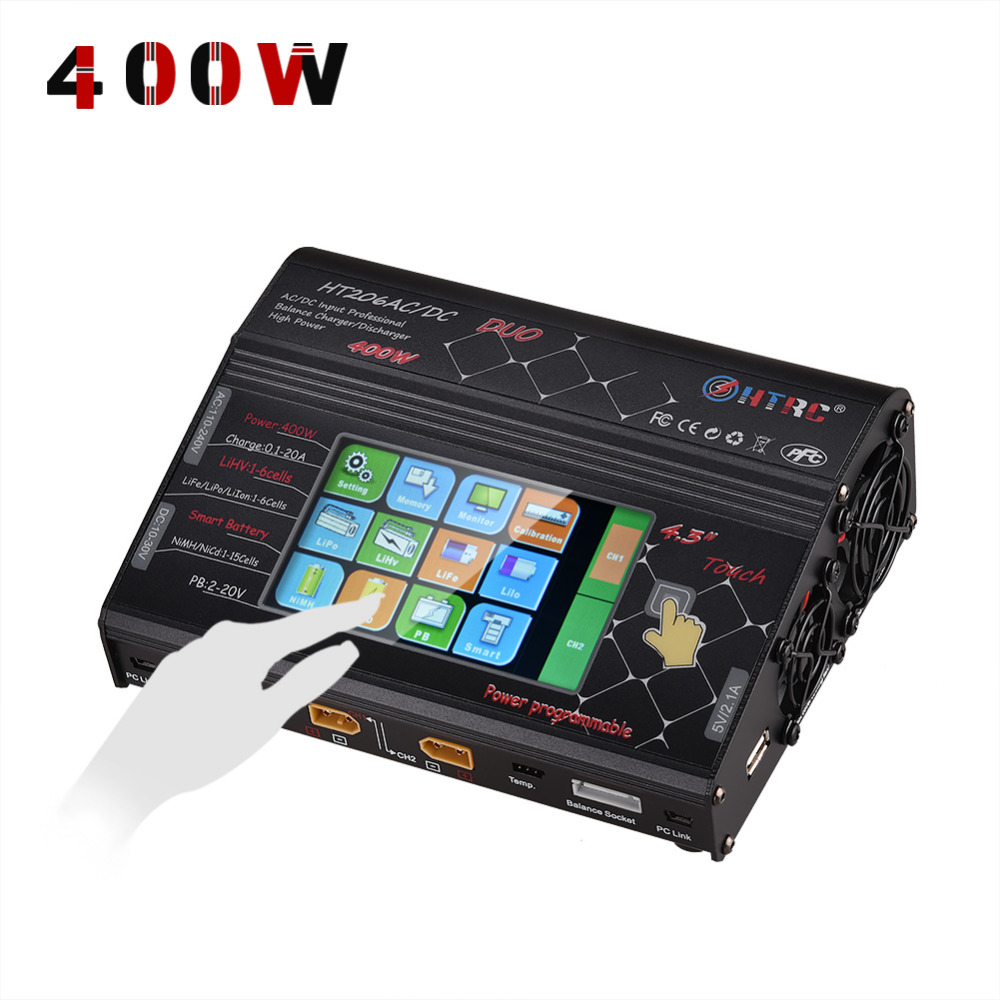 "HTRC HT206 AC / DC DUO 200W * 2 20A * 2 Dual Port 4.3 ""Farve LCD Touch Screen RC Balance Oplader til Lilon / LiPo / LiFe / LiHV Batteri"