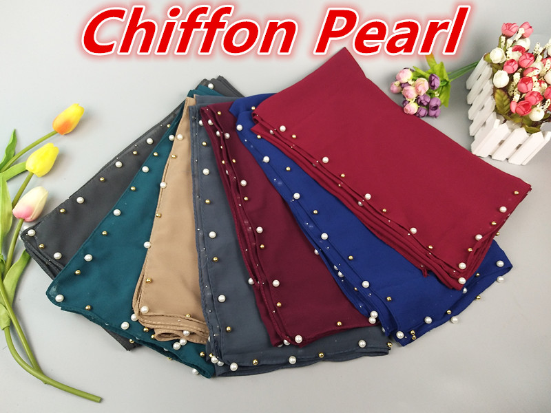 R1 High qualityl white gold pearl bubble chiffon hijab ead wrap muslim scarf scarves shawls 180*75cm can choose colors