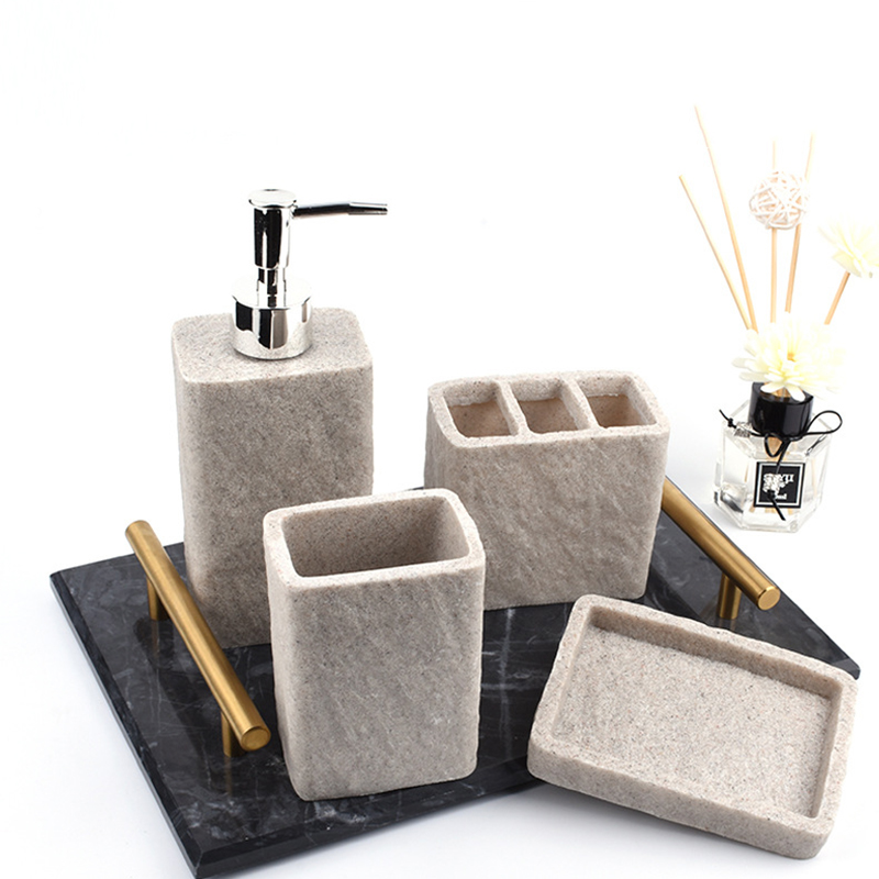 Modern 3 styles sandstone resin hand-polished four-piece bathroom accessories lotion bottle &cup&soap dish&toothbrush holder image