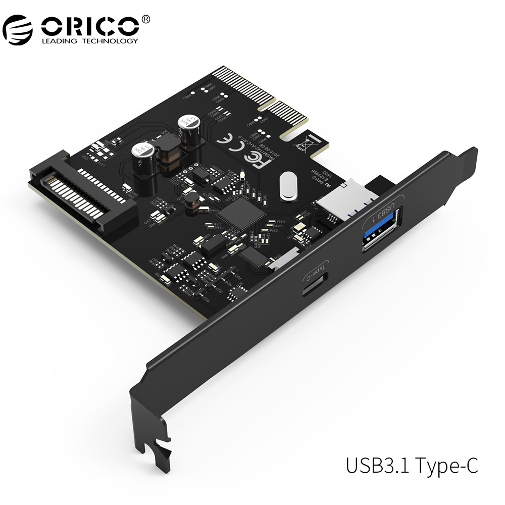 ORICO PA31-AC Desktop 2 Port PCI-E to USB3.1 Type-C Dual-port Express Card-Black business men tie shallow mouth brown leather casual rivet shoes men s shoes round youth non slip rubber sole