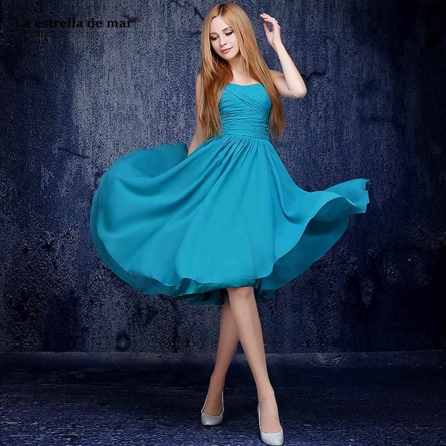 La estrella de mar vestido madrinha 2019 new chiffon one shoulder Backless A Line peacock blue   bridesmaid     dresses   Tea Length