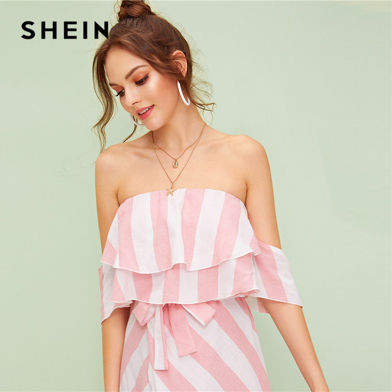 SHEIN Multicolor Ruffle Trim Tulip Hem Off the Shoulder Striped Long Dress Women 2019 Summer High Waist Boho Wrap Belted Dresses