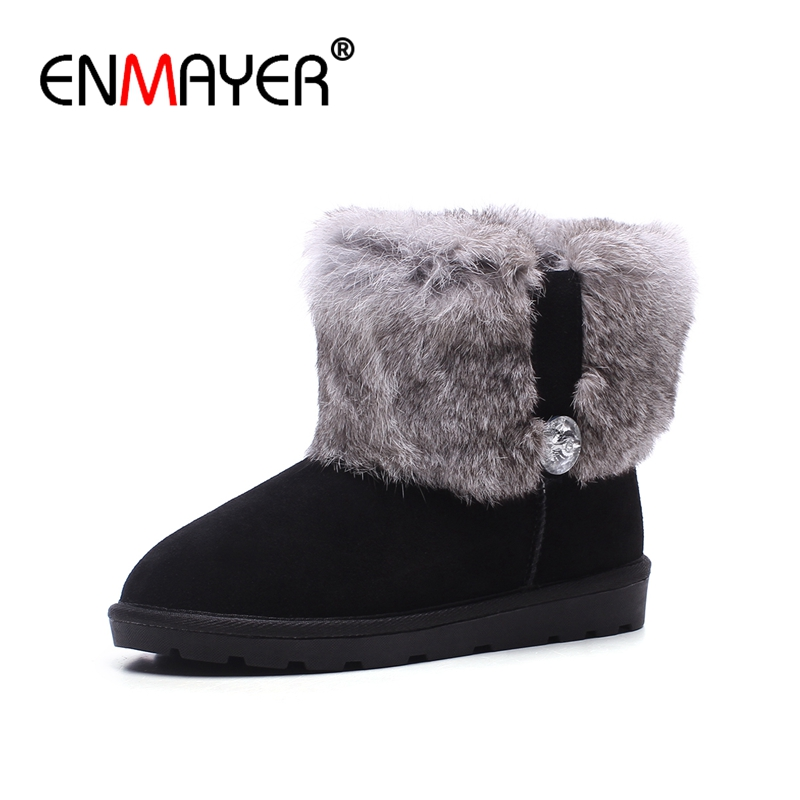 ENMAYER Suede Woman Ankle boots Round Toe Fashion Boots for Women Winter Warm Snow boots Low heels Causal shoes Crystal CR664