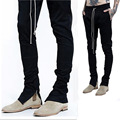 Mens With Zipper Black Drawstring Long Pants Slim Fit Sweatpants For Men Side Zipper Hip Hop Pants