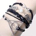 Armbanden Бесконечность 8 браслет гарри поттер браслет кожа Воск линия браслет Треугольник ангельские крылья браслет