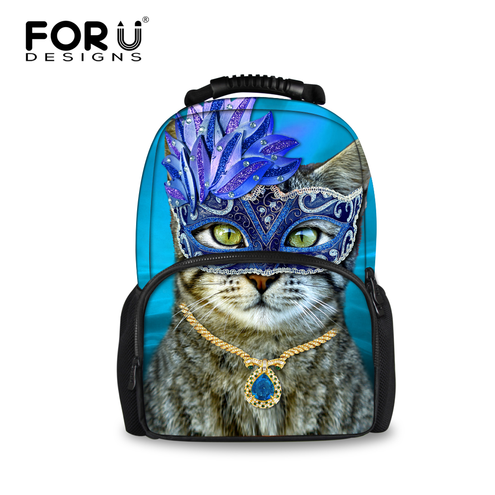 FORUDESIGNS Female Cat Printing Backpacks,2017 Fashion Woman Kanken Bagpack,Women 3D Animal Travel Backpacks,Sshool Back Pack