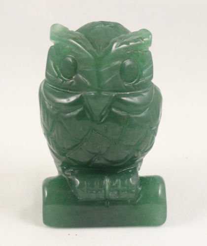 Free Shipping 2.5 Inch Green Jade Carve Owl Statue Hand Carved Owl,Gemstone