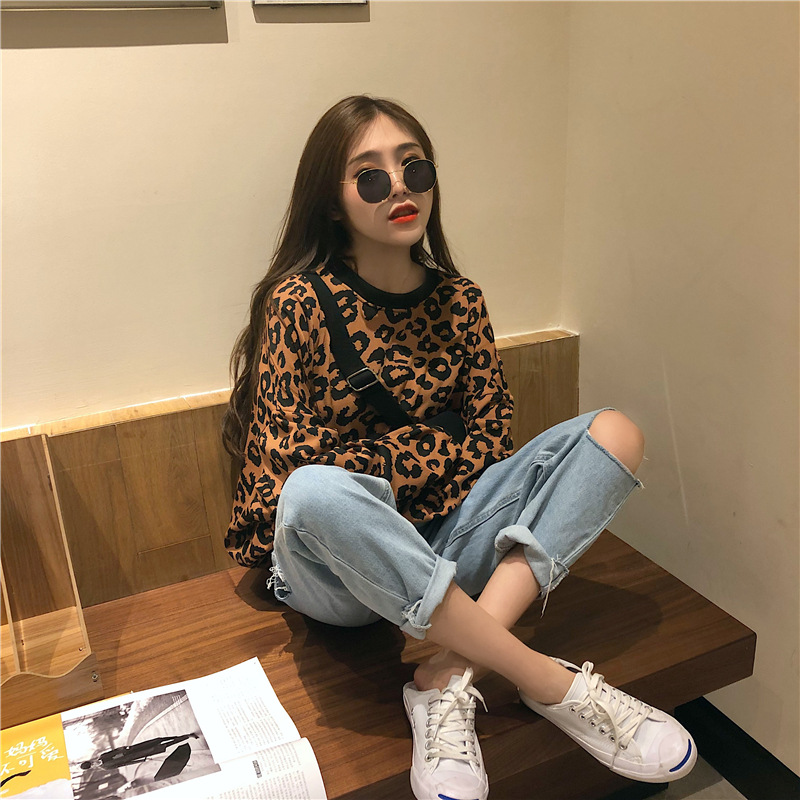 2019 Korean Version Has Tested Hanfeng Casual Early Autumn Panther Print Kuansongweiyi Sweaters Fall Sweaters for Women sweater Price $26.30