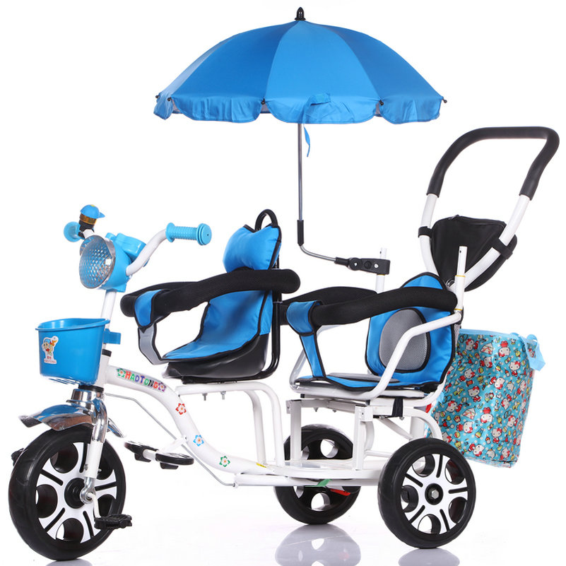 12-дюймовый детский трехколесный велосипед, близнецы велосипед ребёнка выпуска 2 сиденья со складками на педаль тандем трехколесный велосипед с резиновая надувная подушка безопасности для колеса и стальная рама - Цвет: 238