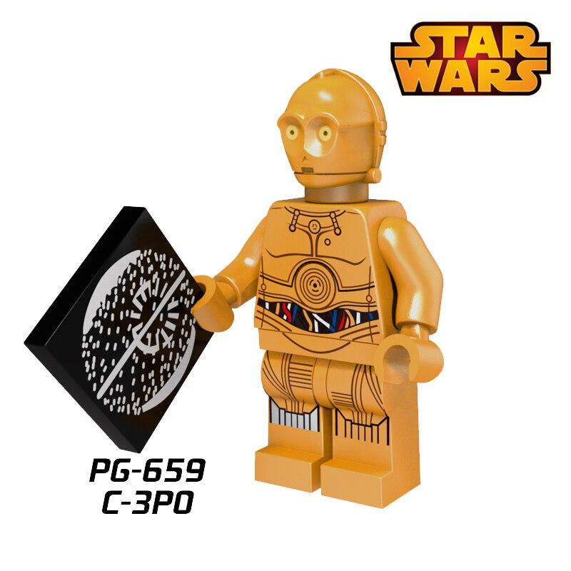1PC Starwars C3PO TC-4 Protocol Droid Building Blocks Super Heroes Avengers Christmas Bricks diy figures Toy Kids Birthaday Gift