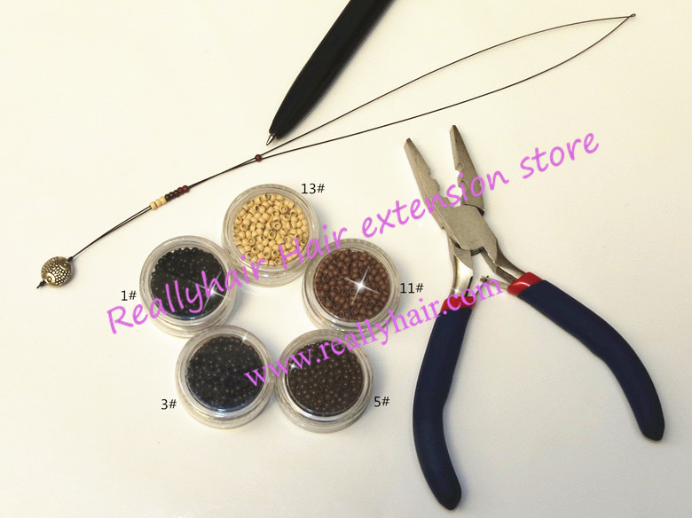 Free shipping 5000pcs Nano rings+1pcs two hole plier+1 pcs NanoRings hook needle for Nan ...