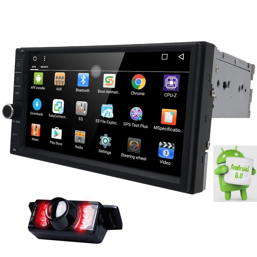 Capacitive Android6.0 3G Wifi Car Monitor GPS Navigation 2din Stereo Radio GPS Bluetooth USB Built-in map mic Mirror-link Camera android 5 1 car radio double din stereo quad core gps navi wifi bluetooth rds sd usb subwoofer obd2 3g 4g apple play mirror link