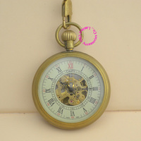 Wholesale Price Good Quality Antique Vintage Classic Gift For Men Brass Short Chain Small Dial Mechanical