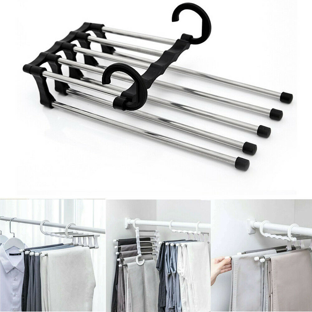 2019 Newest Fashion 5 In 1 Pant Rack Shelves  Stainless Steel Clothes Hangers  Multi-functional Wardrobe Magic Hanger(China)