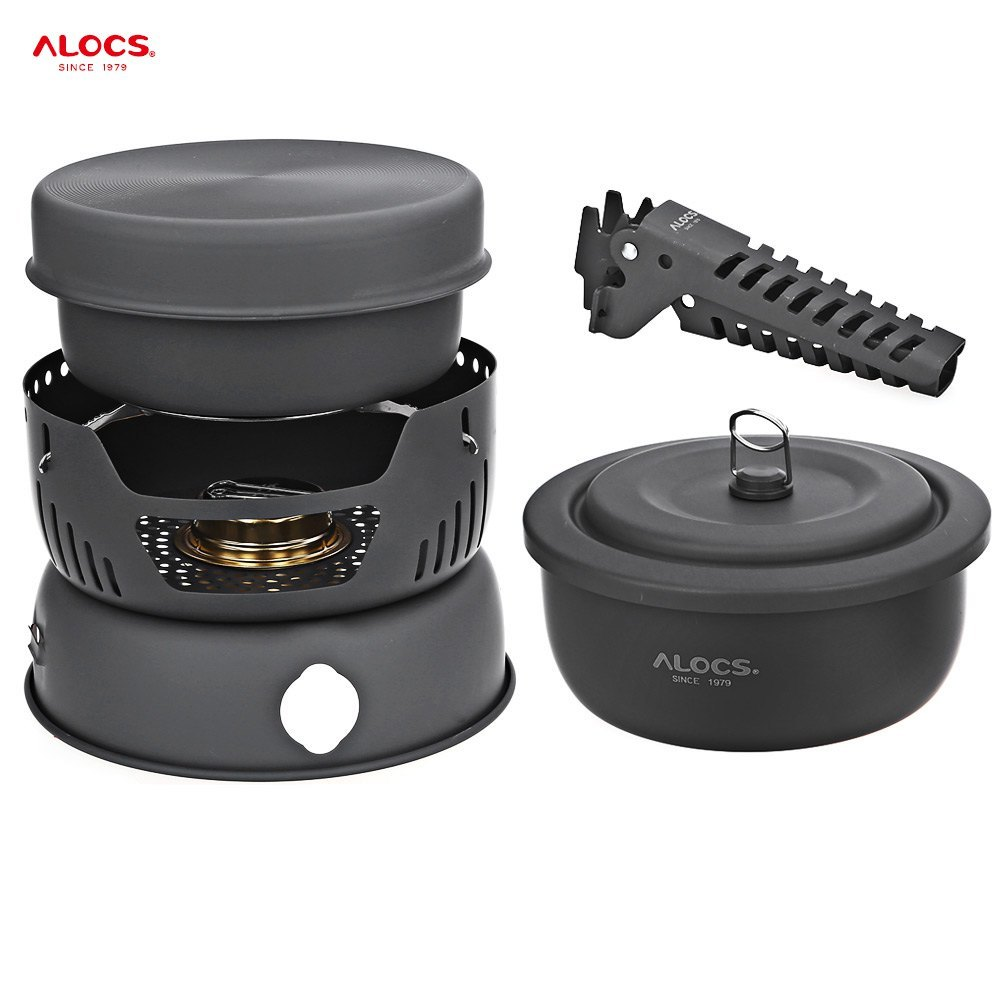 ALOCS CW-C05 Outdoor Portable 10pcs travel tableware set camping Cookware bowl sets with pan gripper pot stove for picnic BBQ цены
