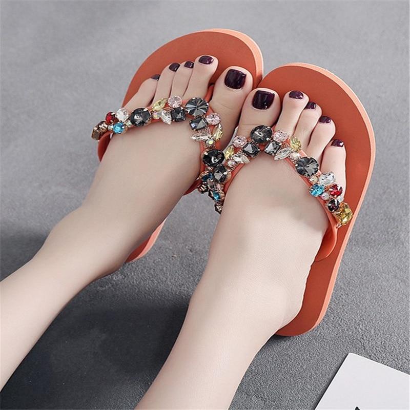 JIANBUDAN/ Women's flat comfortable beach shoes Non-slip soft bottom Casual flip flops Rhinestone decoration Summer flat slipper 3