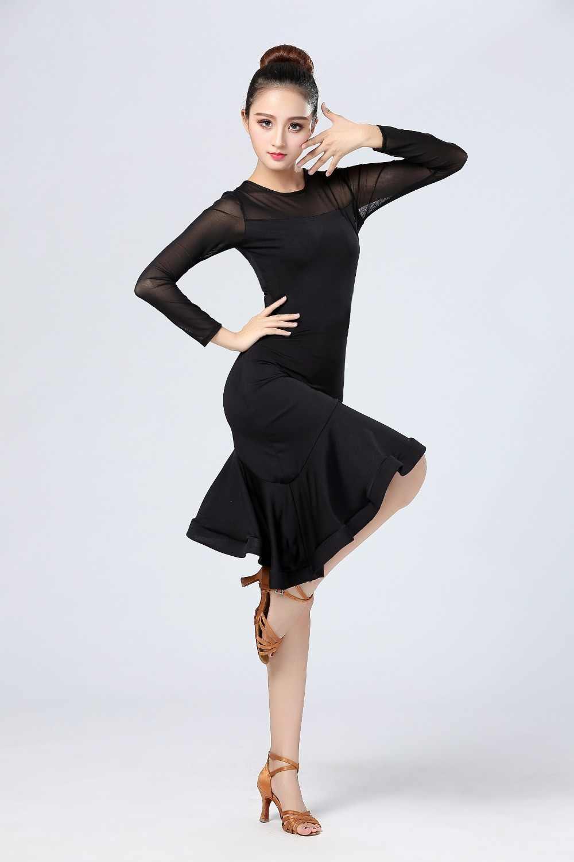 שחור אדום לטיני ריקוד שמלת 2018 חדש עיצוב נשים לטיני ריקוד תלבושות סמבה ריקוד תחפושות קרנבל סלסה ריקוד שמלות