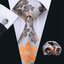 FA-1016 Barry. Wang, мужские галстуки, серый, Цветочный, Шелковый, жаккардовый галстук, Hanky, запонки, набор, мужские деловые подарочные галстуки для мужчин
