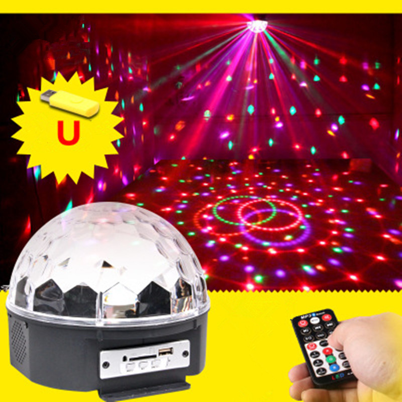 LED Crystal Magic Ball MP3 Mini RGB Stage Lighting Effect Lamp Bulb Party Disco Club DJ Light Show  US/EU Plug 18W mini rgb led crystal magic ball stage effect lighting lamp bulb party disco club dj light show lumiere