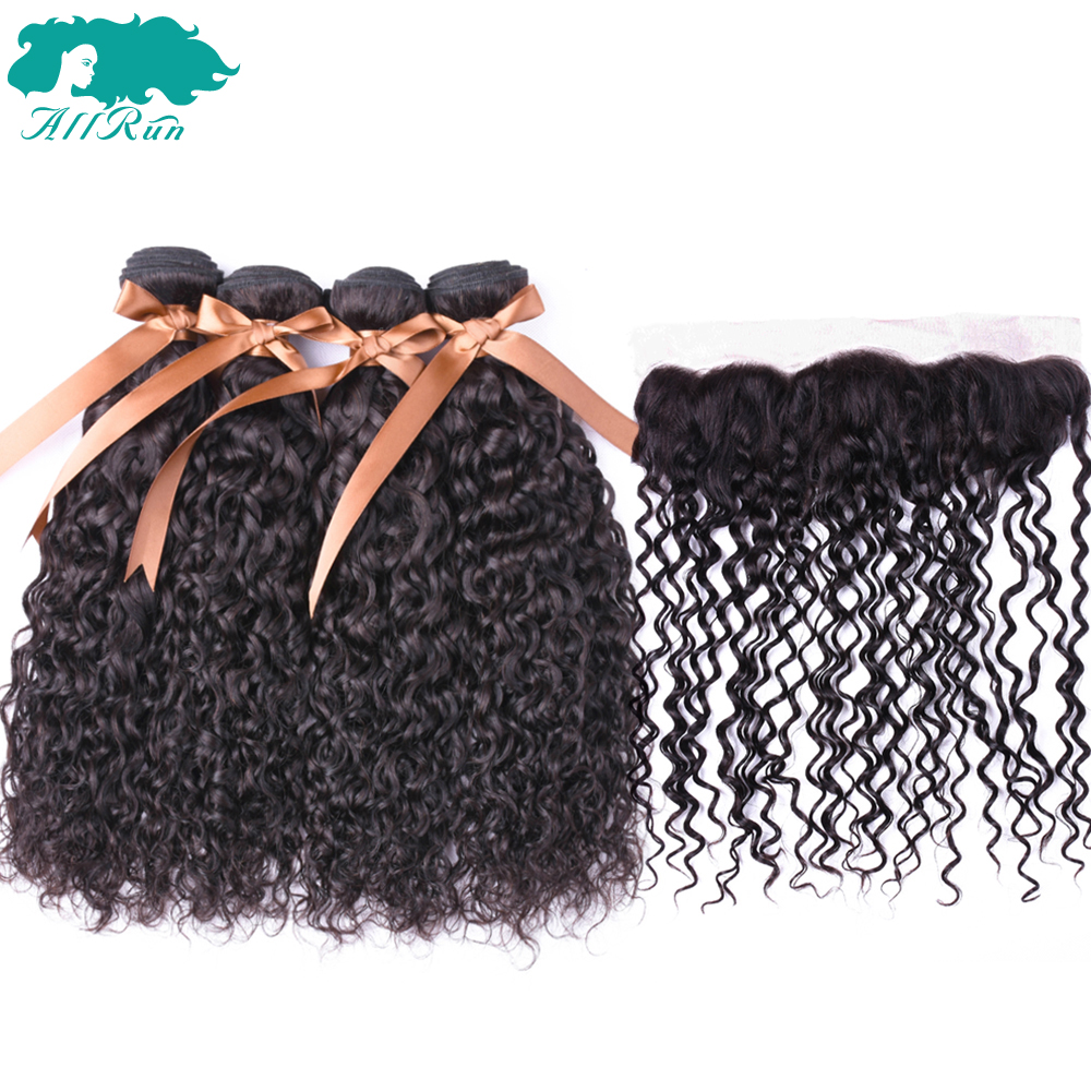 Allrun HAIR Indian Water Wave Hair With Frontal Lace Closure Non-Remy Human Hair Bundles 5PCS PACK 13*4 lace Closure