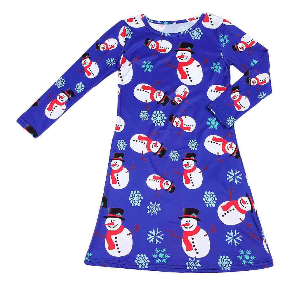4beb3a24f02c9 MUQGEW dress girl party Kids Girls Baby Xmas Long Sleeve Snowman Christmas  Print Swing Dress summer dress Moda Infantil W06-in Dresses from Mother &  Kids on ...