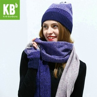 2017 KBB Lambswool Wool Knit Knitted Pom Pom Winter Women Female Girl Tippet Hat Beanie Gloves Scarf Bundle Set