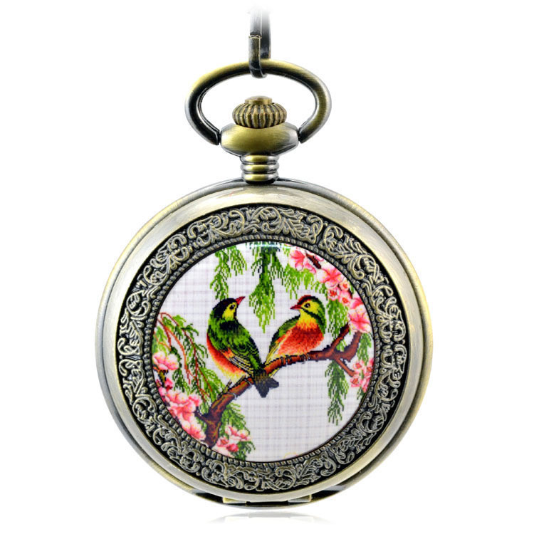 Brown Antique Skeleton Mechanical Hand Wind Pocket Fob Watches Mens Women's Watch Pendant Necklace Gift Roman Flowers And Birds
