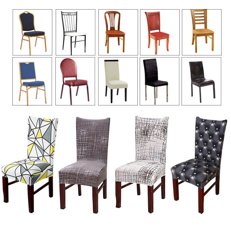Spandex Geometry Elastic Printing Dining Chair Cover Anti-dirty Kitchen Seat Case Stretch Dining Chair Slipcover For Weddings