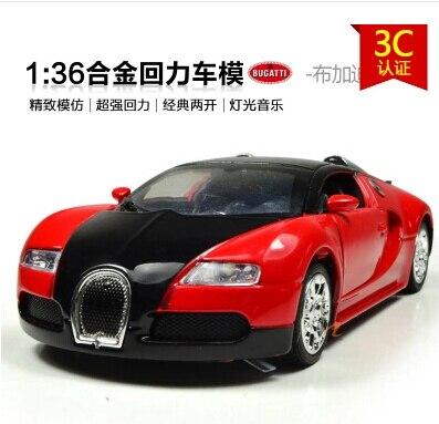 Бесплатная доставка Bugatti Veyron 1:36 Сплава модели автомобиля детские игрушки автомобиля ТАЙ МОДЕЛИ Отступить Электронных Мигает быстро и в ярости