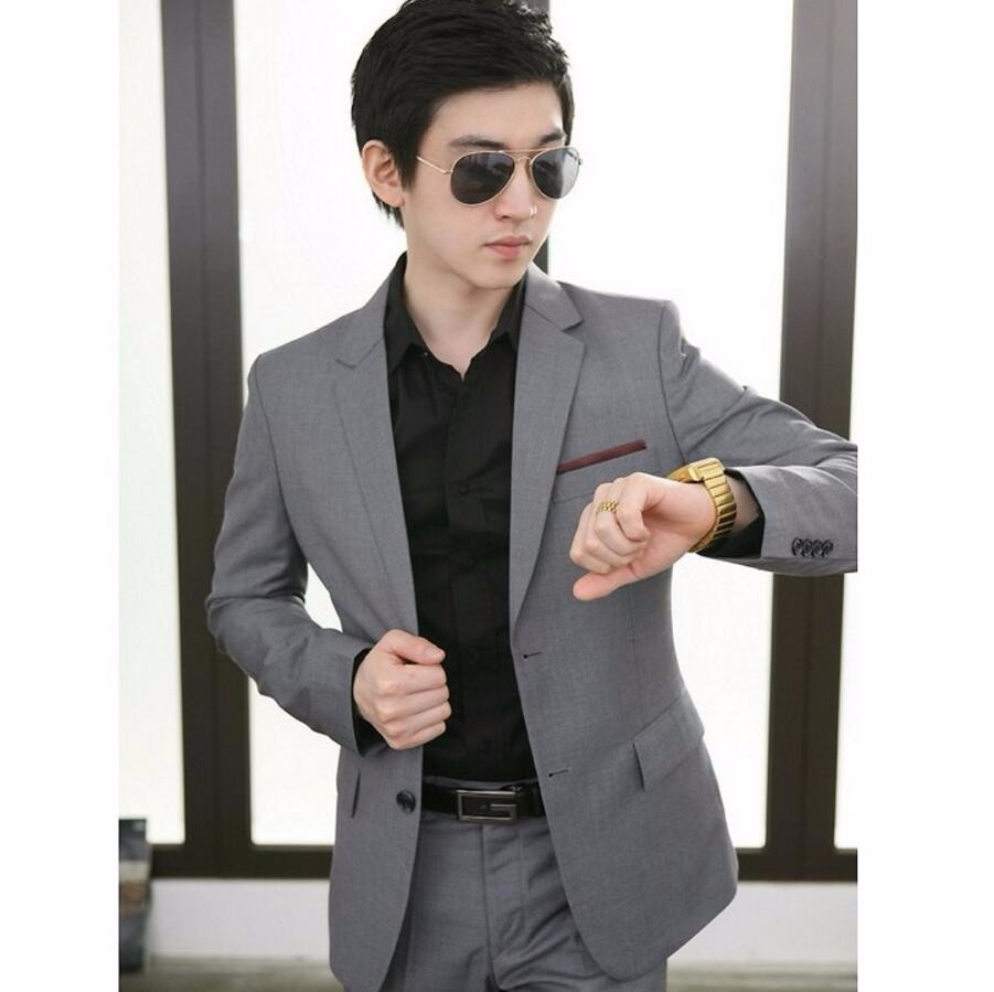 3.1 men blazer high quality fashion jacket of men simple classics pure color business two buttons men custom-make jacket