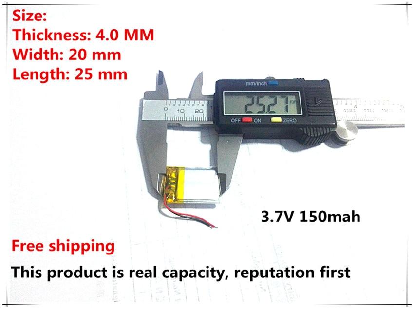 Free Shipping 3.7V Lithium Polymer Battery 402025 042025 150mah MP3 MP4 MP5