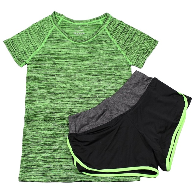 Women 2 Pcs Sets Fitness Push Up Seamless Bras Tops Elastic Short Pants + T-Shirt For Women Casual Suit T55