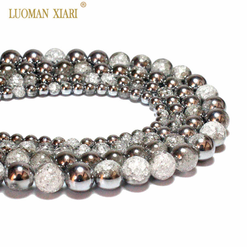 Wholesale One Side Plated Silvery White Snow Cracked Crystal Natural Stone Beads For Jewelry Making DIY Bracelet Necklace 6-12mm